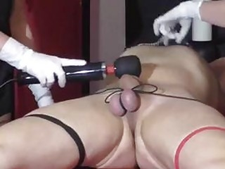 German cock and ball torture with two femdom BDSM sluts