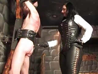 Sub slave whipped on the cross by femdom BDSM mistress
