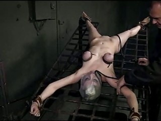 Slutty Tricia Oaks gets tied up and tits tortured BDSM