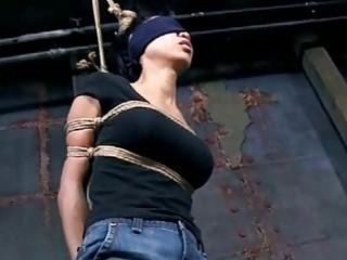 Busty blindfolded slave girl tortured while tied up BDSM porn