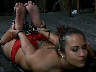 Sexy slave girl Rain DeGrey in hardcore BDSM bondage punishment