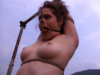 Appealing chubby bitch is bonded and tortured while somewhere outdoors