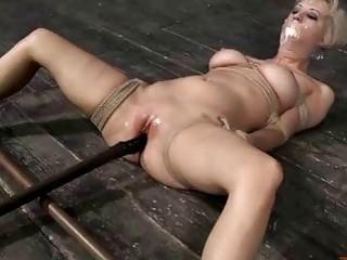 Bondage sub slut gets smashed by a fuck machine BDSM