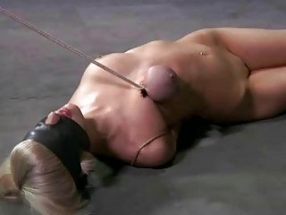 Blonde sex slave roped up and disciplined by master BDSM