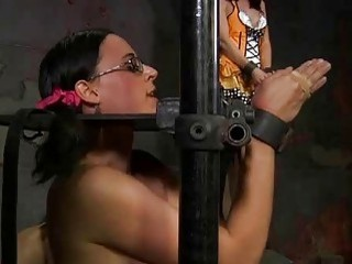 Brunette bondage babe tied up and humiliated by master BDSM