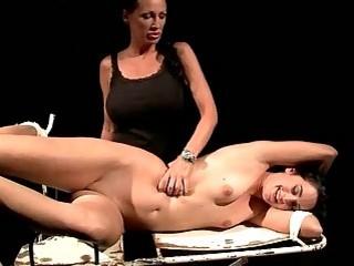 Lesbian mistress plays with her bondage sex slave BDSM porn
