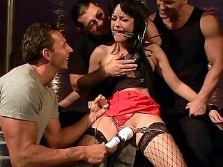 BDSM gangbang fucking and punishing for sexy brunette slave girl