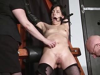 Slave bitch Elise Graves has bondage threesome with BDSM freaks