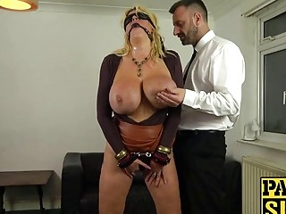 Slave with huge titties gets whipped and then fucked hard