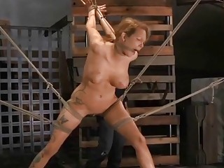 Chick with thick hips and tats gets spanked very hard