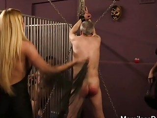 Old man is tied up and whipped until he bleeds