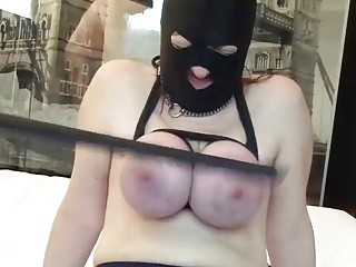 Chick with big titties gets her big boobs caned hard