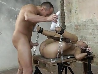 Babe is tied up and fucked hard by her man