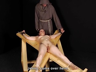 Skinny pale babe is tied up and her tits slapped