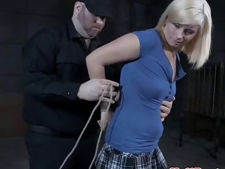 Skinny blondie gets her tight little pussy whipped real hard