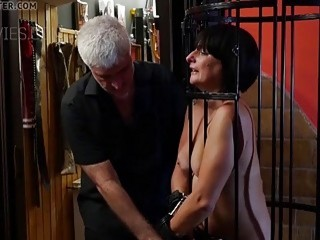 Submissive old lady tied up and tortured by a sadist