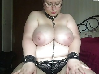 Obese girl with big tits enjoys BDSM on a leash
