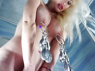 Horny woman adores rough BDSM and squeezing her tits hard