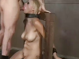Submissive girl loves BDSM and dick in her deep throat