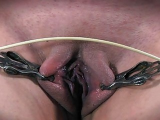 Naughty chick in bondage gets her pussy spread and tortured