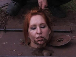 Redhead slave girl finally got out of her cage BDSM