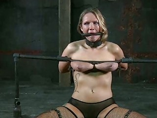 Bound slave girl Elise Graves gets her tits tortured BDSM
