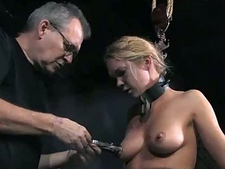 Tied up sexy whore Calico got her tits tortured BDSM
