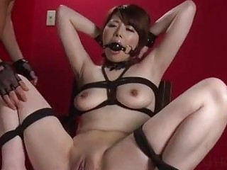 Curvy submissive bound Japanese wife cums on big vibrating dildo
