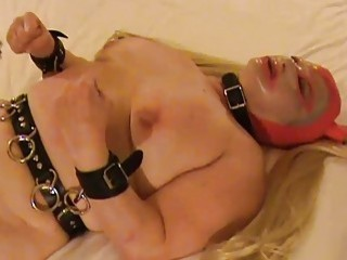 Horny chick spreads her tight cunt and has BDSM sex