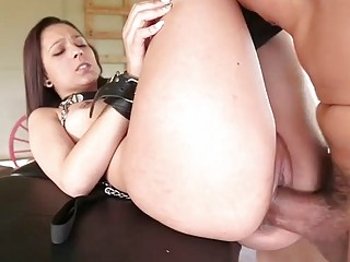 Impeccable girl with tight throat sucks dominant dude's big dick