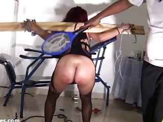 Fetish loving latina slave whipped hard while having bondage sex