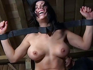 Nasty infernal Restraints with Beverly Hills and her master BDSM