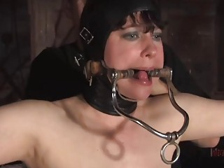 Caged slut Anna Rose humiliated and finger fucked BDSM porn