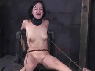 Restrained sub slave Elise Graves receives rough toying BDSM porn