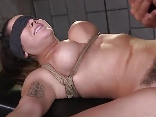 Hairy pussy slave rough fucked in bondage position BDSM porn