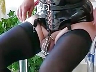 Nasty slave trained to wait with cock torturing technique BDSM
