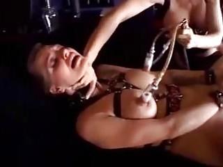 Lezdom mistress milks her big breasted slave BDSM lesbian porn
