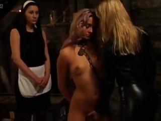 Lezdom mistress chains and fucks her lesbian slave BDSM porn