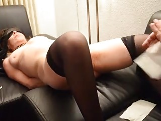 Amateur chubby woman tied up and finger fucked BDSM porn