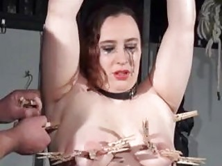 Chubby bound slave tits and pussy tortured by master BDSM