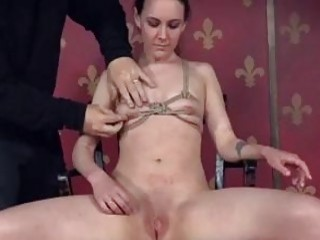 Tied up sub gal craves for painful electroplay BDSM porn