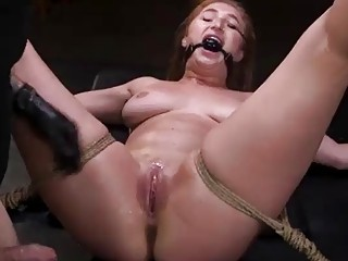 Babe gets her tits and throat tortured by her master