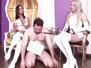 Ladies dominate their horny slaves and humiliate them really hard