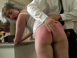 Slutty nympho gets on her knees and sucks a dick