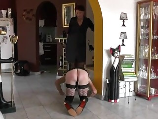 Cross-dresser put on a leash and dragged around the house