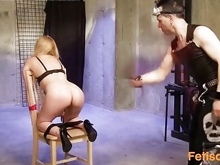 Long-haired cutie gets her pussy rubbed anad tortued by goth
