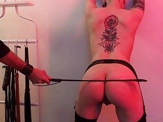 Babe with amazing tattoos gets her ass whipped real hard
