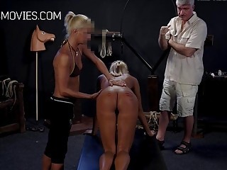 Babe with big titties tied up and whipped on ass