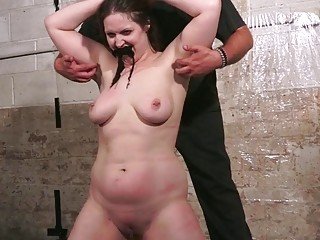 Big titty MILF on her knees for her sadistic master