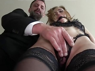 She gets her ass hole drilled by her masters cock